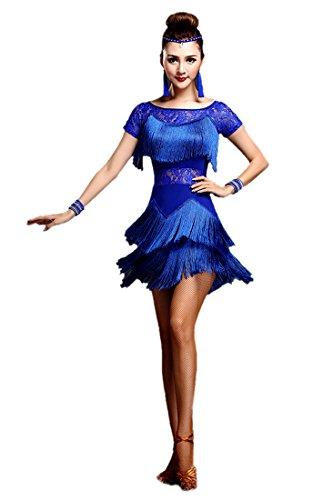Honeystore 2017 Neuheiten Damen Kurzärmelig Quasten Swing Rhythmus Jazz Latein Dance Kleid Blau XL