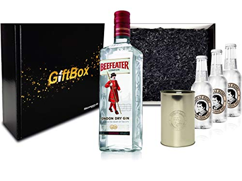 Gin Tonic Set Giftbox Geschenkset - Beefeater London Dry Gin 0,7l 700ml (47% Vol) + 3x Thomas Henry Elderflower Tonic 200ml inkl. Pfand MEHRWEG + Becher -[Enthält Sulfite]