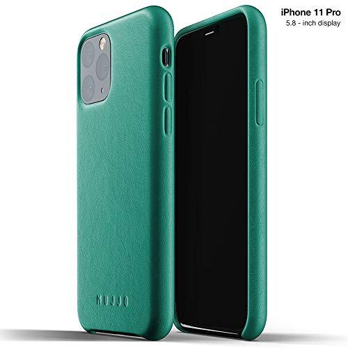 Mujjo Estuche para Apple iPhone 11 Pro | Funda de Cuero Suave Efecto Envejecido Natural, Elevado 1mm en la Pantalla, Cubierta súper Delgada (Verde Alpino)