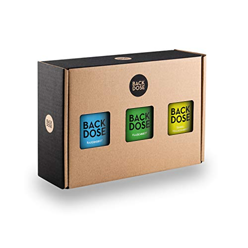BACKDOSE® Brot-Box Geschenkset - 3 Brot-Backmischungen