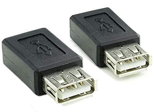 2 Pack USB 2.0 Tipo a Hembra a Micro USB b Conector Hembra Adaptador de Enchufe convertidor de USB 2.0 a Micro USB