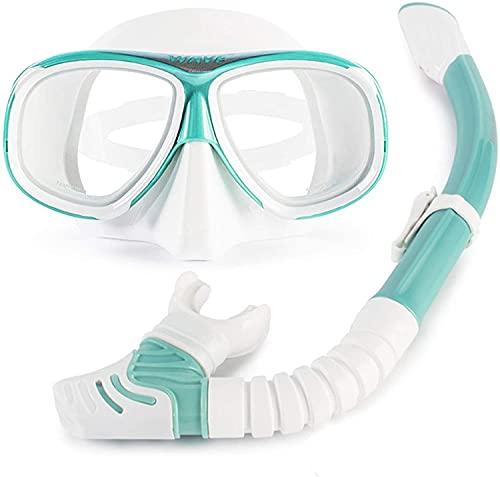 Mascara Buceo Gafas de Buceo con Lentes Myopia Light Full Seco Snorkel Set Largo Duradería Anti-empañamiento Cómodo Ajuste Apto para Adultos (Color : Green, Size : 200°)