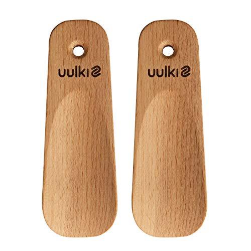 Uulki Schuhlöffel klein Schuhanzieher kurz aus Holz – Schuhhilfe Set Hilfe zum Schuhe anziehen 2 Stück – Ideal für unterwegs, zuhause, auch für Kinder (11,5 cm)