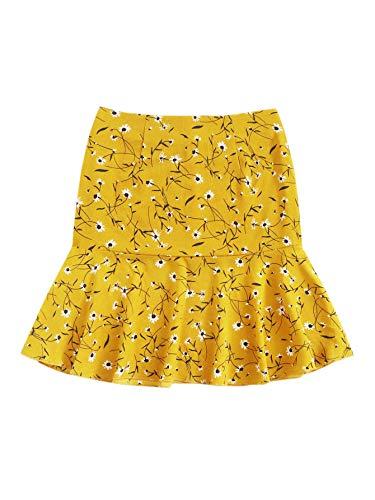 WDIRARA Women's Mid Waist Ditsy Floral Ruffle Hem Pencil Skirt Ginger S