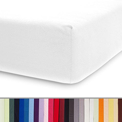 Lumaland Comfort Jersey Spannbettlaken mit Rundum-Gummizug - 100 x 200 cm - 120 x 200 cm - Steghöhe bis zu 25 cm - 160 g/m² 100% Baumwolle Spannbetttuch Bettlaken - Weiß