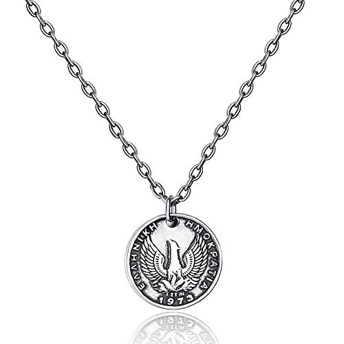 Schmuck Pegasus Münzkette 925 Sterling Silber Halskette lange Pullover Kette Frauen