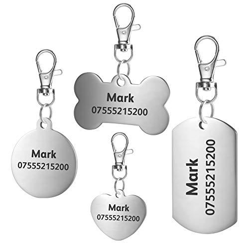BKDZ Etiquetas de identificación de Mascotas de Acero Inoxidable Etiquetas de Perro Personalizadas Personalizadas Grabado Frontal/Posterior para Gato y Perro con (S, Hueso de Plata)