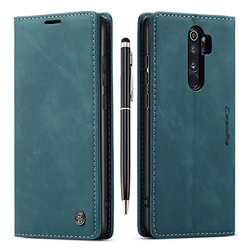 Finemoco Handyhülle für Xiaomi Redmi Note 8 Pro Hülle Leder,Premium PU Handytasche mit Brieftasche Flip Case Blau Dünn Schutzhülle Magnet Stoßfest Klapphülle Silikon TPU Bumper Cover mit Standfunktion