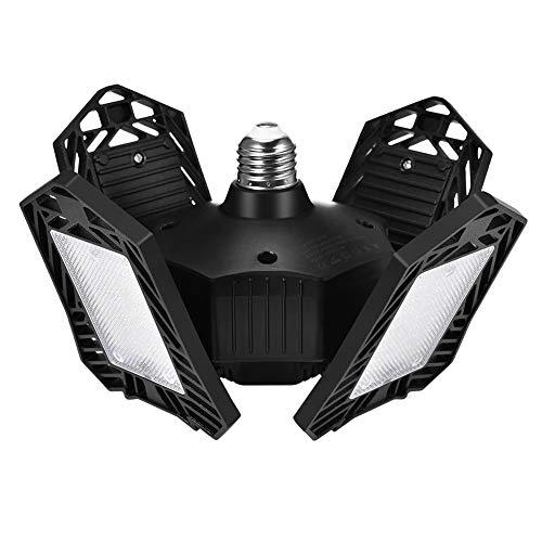 Luz de garaje LED de 150 W, DYBITTS 15000lm Luces de garaje deformables Luz de taller con 4 paneles 6500K Luz diurna plegable ajustable Bombilla E26 / E27 para lámparas de techo para taller, almacén