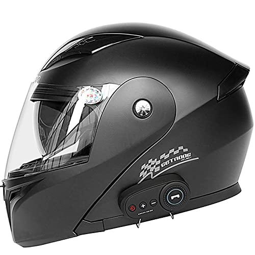 LILIXINGSH Bluetooth Casco Moto Modular para Mujer Hombre, Adultos Casco de Moto Scooter con Doble Visera, ECE Homologado Casco de Motocicleta Integrado para Adultos Bluetooth Casco Moto Modular