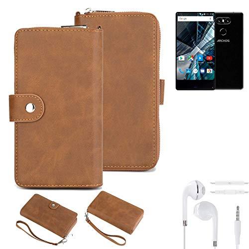 K-S-Trade Handy-Schutz-Hülle Für Archos Sense 55 S + Kopfhörer Portemonnee Tasche Wallet-Hülle Bookstyle-Etui Braun (1x)