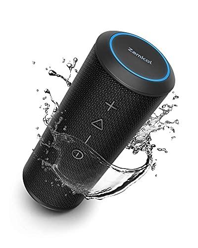 Zamkol Cassa Bluetooth, Altoparlante Portatile con Bassi Potenti, Impermeabile, 15 Ore, TWS, Mic, Potente 360 Suono Stereo Speaker per Esterno, Cucina, Viaggio, Festa, Regalo
