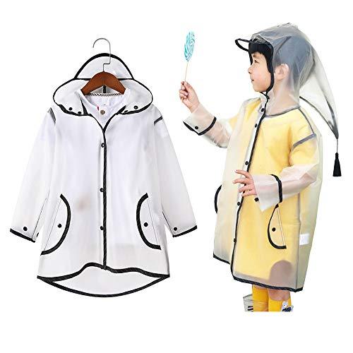 TPU Kids Raincoat Matte Girls Boys Rain Jacket Hooded Rain poncho Rain Cape