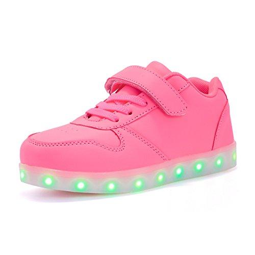 Voovix Unisex-Kinder Licht Schuhe mit Fernbedienung Led Leuchtende Blinkende Low-top Sneaker USB Aufladen Shoes für Mädchen und Jungen(Rosa,EU37/CN37)