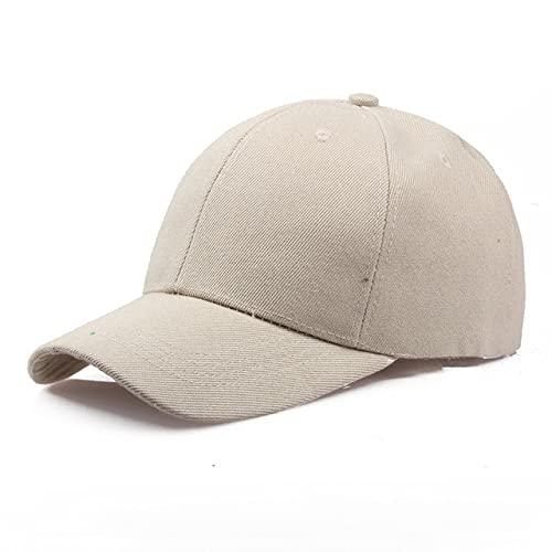 Gorra Negra Gorra de béisbol de Color sólido Gorras Snapback Casquette Sombreros Ajustados Gorras Casuales Hip Hop Sombreros de papá para Hombres Mujeres Unisex-Beige