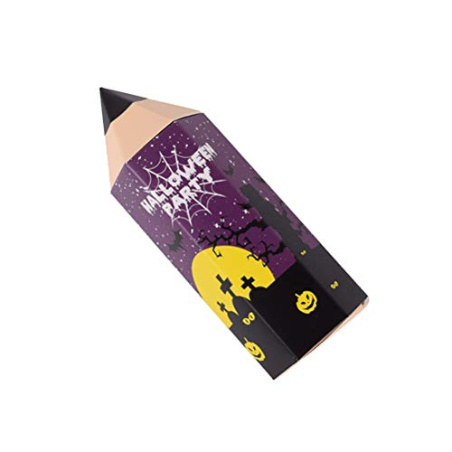 PRETYZOOM Candy cajas de regalo entregado forma de lápiz, cajas de regalo de dibujos animados, cajas de caramelos para Navidad (lila, sin cinta), accesorios de Halloween