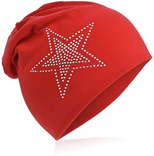 Berretto lungo in jersey, da bebè, unisex, in cotone, motivo con stella a strass 2 stelle rosse. 48-53 cm Circonferenza Della Testa