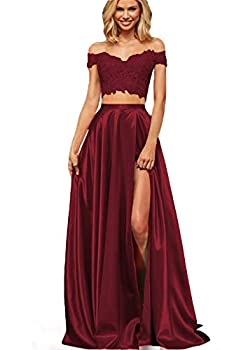 Lover Kiss Women s Long Lace Satin Prom Dress With Slit Evening Gown 14 Burgundy