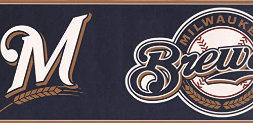 York Wallcoverings Milwaukee Brewers MLB Baseball Team Fan Sport Wallpaper Border Modern Design, Roll-15' x 6''