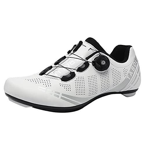 Willsky Road Cycling Schuhe Herren Womens Atmungsaktive Fahrrad Sneakers Super Light Knob Schnalle rutschfeste Tragbar,Weiß,37 EU