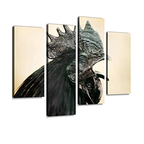 IGOONE 4 Panels Canvas Paintings - Pollo ayam cemani Che canta gallo Nero Testa Beautiful Rooster - Wall Art Modern Posters Framed Ready to Hang for Home Wall Decor