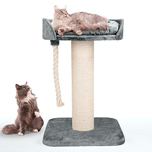 Happypet massiver Premium Kratzbaum, COMPACT Tower I, für große Katzen (Maine Coon), 8mm Sisal, 17 cm Säulen, 100 cm Hoch GRAU