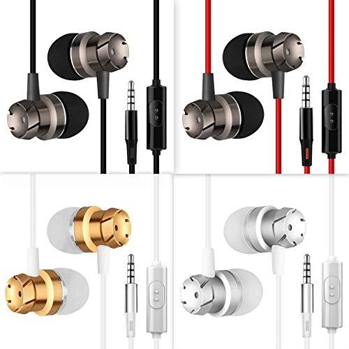 HomEdge In-Ear-Kopfhörer mit Mikrofon und Fernbedienung, 3,5 mm, kabelgebunden, verhedderungsfrei, für Smartphone, Desktop, Laptop, MP3, Walkman, 4 Stück