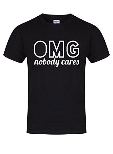 Unisex Slogan T-Shirt OMG Nobody Cares Black Medium with White