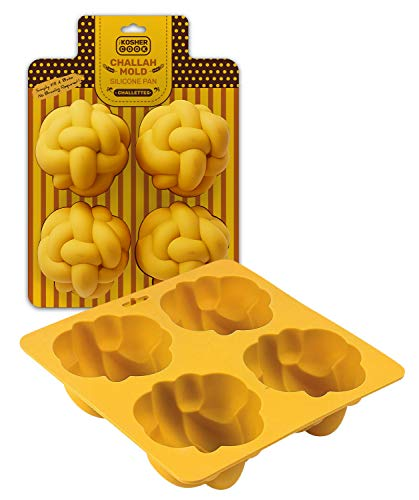The Kosher Cook Silicone Braided Challah Mold - 4 Small Challettes - Braided Oval Challah Pan - Challah Bread Baking Mold - No Shaping Required