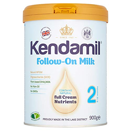 (2x900g) Kendamil Follow-On Milk 2-Pack, Stage 2, 6-12 Months – British Made, Whole Milk Formula – Vegetarian, No Palm Oil, No GMOs –with Omega 3 DHA, Omega 6 ARA and Prebiotics