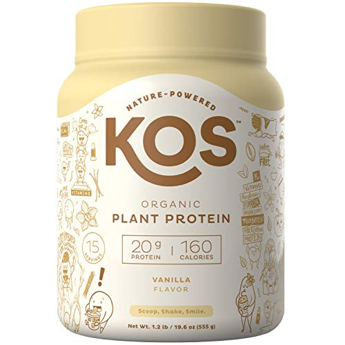 KOS Organic Plant Based Protein Powder - Vanilla Protein Powder - Gluten, Dairy & Soy Free Vegan Protein Powder - Ideal for Meal Replacement Shakes for Weight Loss - 1.3 Pounds, 15 Servings