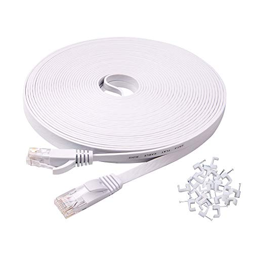 Ercielook Ethernet Cable 100 ft High Speed, Cat 6 Flat Network Cable with Rj45 Connectors, Long LAN Cable with Clips - White 30 M