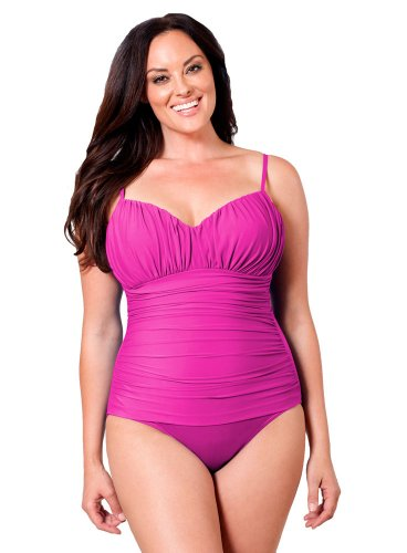 Miraclesuit Fuchsia Plus Solid Rialto One Piece Swimsuit Size 24W