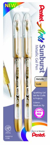 Pentel Arts Sunburst Metallic Gel Pen, Medium Line, Permanent, Gold Ink, 2 Pack (K908BP2X)
