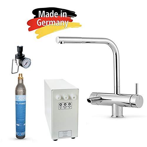Sprudel-Lok Sprudel aus dem Wasserhahn! Untertisch-Trinkwassersystem - Trinkwassersprudler NEUHEIT! inkl. 3-Wege-Zusatzarmatur MORA, 425 g CO2 Zylinder und Anschluss-Set. Made in Germany