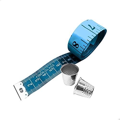EUROXANTY Set cinta métrica + 2 dedales | 150 CM- 60 Inch | Cinta métrica para sastres | Protector de dedos | Metro flexible | 20 mm de ancho | Azul