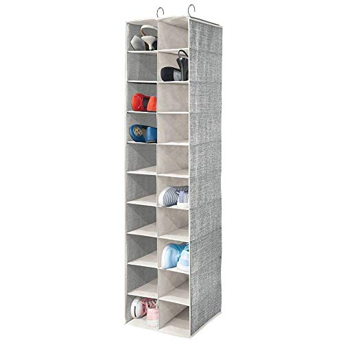 mDesign Soft Fabric Closet Organizer - Holds Shoes, Handbags, Clutches, Accessories - Large, 20 Shelf Over Rod Hanging Storage Unit - Black/Cream