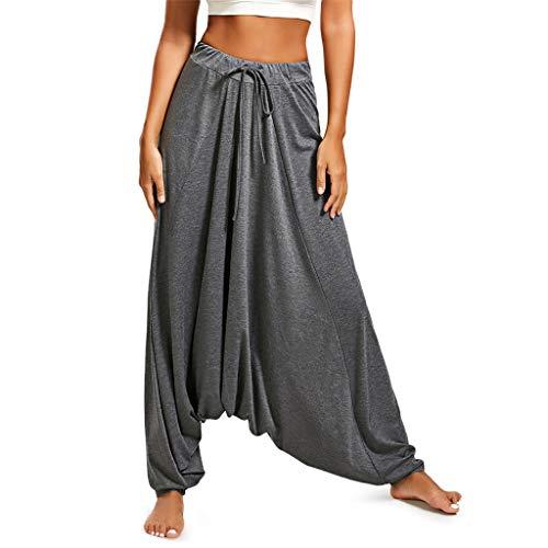 NEEKY Unisex Haremshose Damen Hosen große größen - Frauen Plus Size einfarbig beiläufige lose Haremshose Pluderhose Pumphose Harem Yoga Pilates Hosen (XXL, Y-Grau)