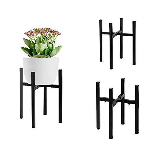 Keystar Supporto Regolabile per Piante, da 20,5cm a 28,5cm Supporto per Fiori in Metallo, Moderno Supporto per fioriera per Interni ed Esterni (Nero, Planter Non Incluso)
