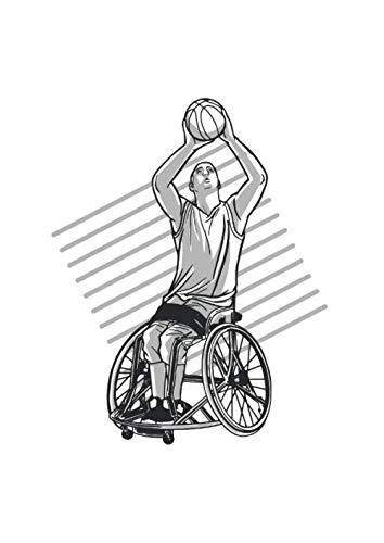 Notizbuch - Kariert: DIN A4, 144 Seiten | Dickes Notizheft / Matheheft / Schulheft mit Inhaltsverzeichnis und Softcover | Motiv: Rollstuhl - Basketball