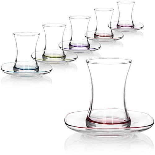 com-four® Juego de Vasos de té de 12 Piezas - Vasos de té Turco con platillos - Juego Oriental Çay en Colores Brillantes