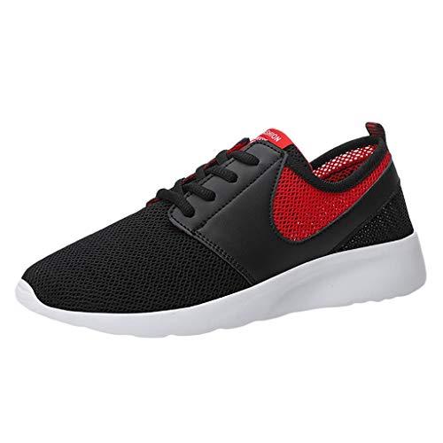 Unisex Sneaker Sportschuhe für Herren Damen Herrenschuhe leichte Laufschuhe Engmaschige Elastische Atmungsaktive Freizeitschuhe (44, Rot)