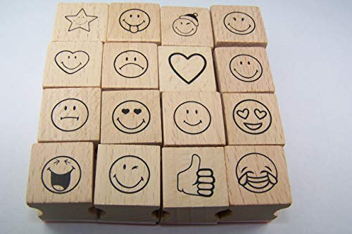 Set di 16 timbri con smiley, emoji, anche come timbro per insegnanti e scuola