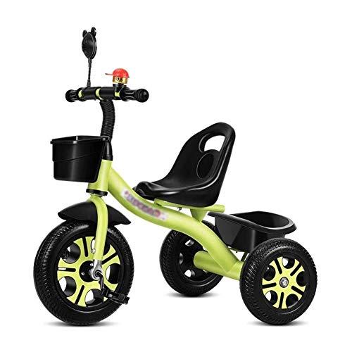 TQJ Cochecito de Bebe Ligero Triciclo Infantil, 3-6 Años De Edad Chicos Chicas De Acero Al Carbono-Rid En Bicicleta De Niño Scooters Sillas De Paseo For Niños Triciclos De Pedal Coches Bici Con Respal