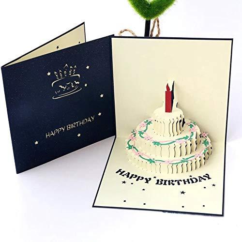 Tweal 3D Carte d'anniversaire,Cartes de vœux Anniversaire,Creative 3D Pop Up Cartes De Voeux (Bleu)