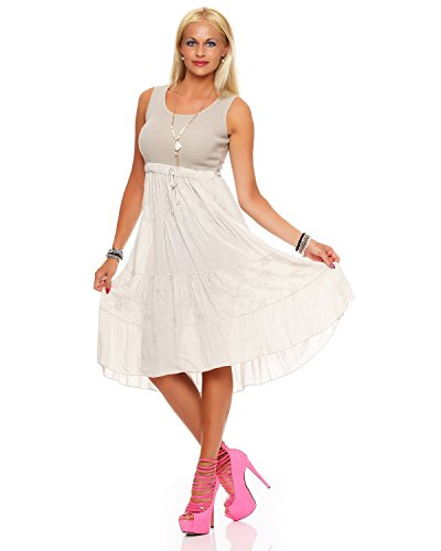 Zarmexx Damen Sommerkleid Volant langes Empire Kleid knielanges Strandkleid