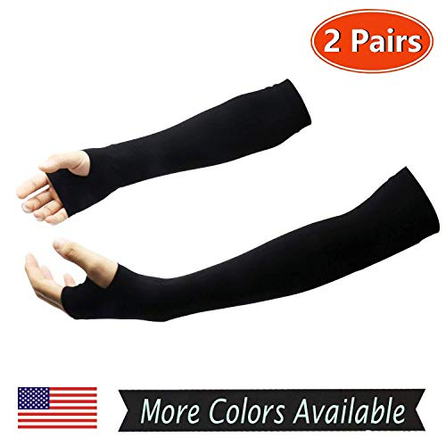 Compression Sports Arm Sleeve 99% UV Protection for Golf Weight Training Basketball Cycling Pain Injury Recovery, Helps protect arms from abrasions blisters Long Black 2 Pairs
