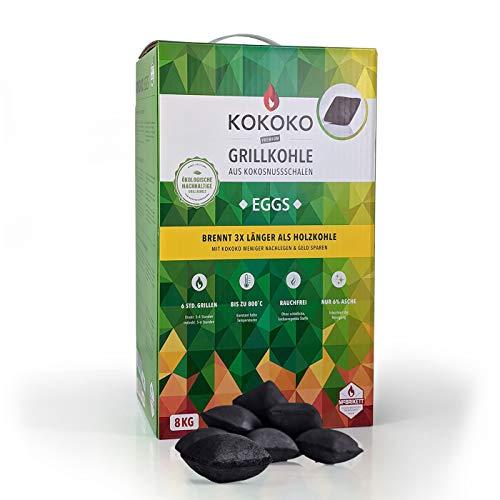 KOKOKO EGGS Grillkohle von McBrikett, 8kg, Ideal für Dutch Oven, Kugelgrill, Weber & Watersmoker, Bio Kokos Grillbriketts