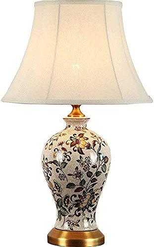 Flores pintadas, lámpara de mesa de cerámica agrietada, lámpara de noche de dormitorio, decoración de dormitorio, sala de estar, salón, corredor,A