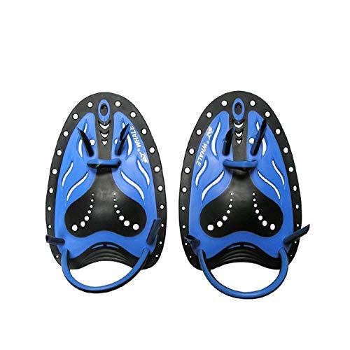 Exnemel Unisex Schwimm Paddle, Stärke Handpaddel Schwimmpaddel Trainingshilfe Finger Paddle (Blau,L)